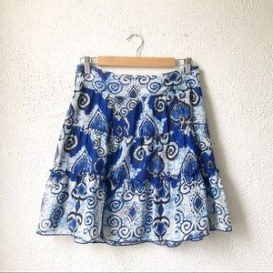INC | Blue Paisley A-Line Skirt Size MP